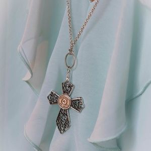 Jewelry - Low hanging bullet cross necklace